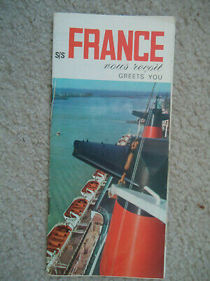 """French Line - ss France - """"Greets You"""" - Brochure - 1965"""