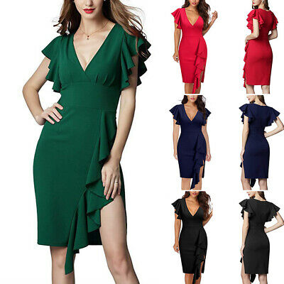 Evening Party Cocktail Fashion Sexy Ruffle Sleeve Charming Deep V-neck Dress