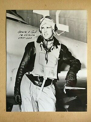 Marion Carl Wwii Usmc Ace Vmf-228 8X10 Photo 18.5 Kills Moh Winner