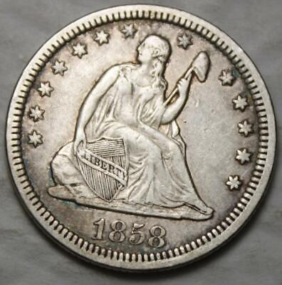 United States 1858-P Silver Quarter, Seated Liberty, Nice Grade