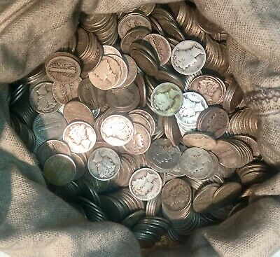 Lot🔥Of🔥122🔥Mercury Winged Head🔥90% Silver Dimes🔥Very Tuff 2 Find🔥Highly In