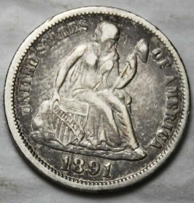 United States 1891-P Silver Dime, Seated Liberty, Nice Grade