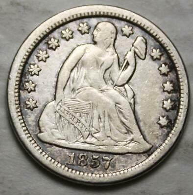 United States 1857-P Silver Dime, Seated Liberty, Nice Grade