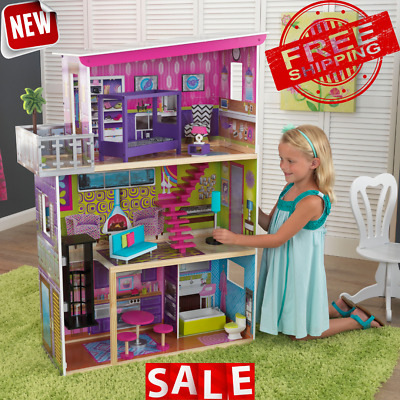DOLLHOUSE PLAYSET KIT Wooden Furniture Doll House Barbie Girl Kids Toy Miniature