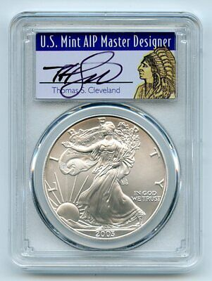2003 $1 American Silver Eagle Dollar PCGS MS70 Thomas Cleveland Native