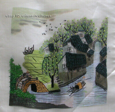 """Chinese 100% hand embroidered silk suzhou embroidery art:south watertown 8"""""""