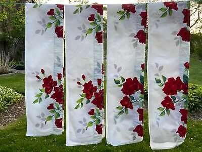"Lot 4 Vintage WILENDUR ROYAL RED ROSE ROSES Handmade Curtain Valances 50""x 7"""
