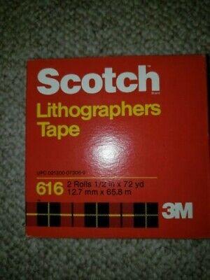 """New 12 Boxes of 2 Rolls Scotch 3M 616 Lithographers Tape 1/2"""" x 72 yds Ruby Red"""