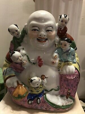 "Antique Porcelain Laughing Famille Rose Buddha W 5 Children 8 3/4""."