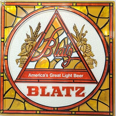 """(VTG) 1970s Blatz Beer Stain Glass Looking Sign 18"""" x 18"""" Game Room Man Cave"""