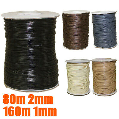 Roll Waxed Cotton Cord Wire Beading Macrame String Jewelry DIY Craft 1mm/2mm