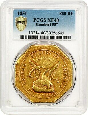 1851 Humbert, RE, 887 THOUS $50 R PCGS XF40 ((K-6)) Territorial Gold Coin