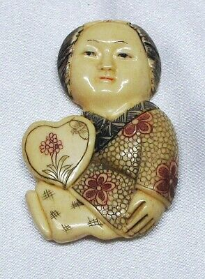 Netsuke Chinese (Bovine) Bone Carving Of A Chinese Child, Very Nice Condition