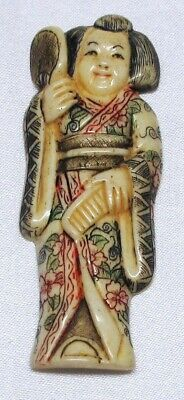 Netsuke Chinese (Bovine) Bone Carving Of A Chinese Or Japanese Lady