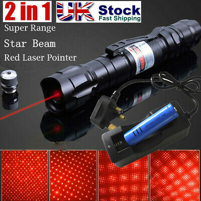1mW Rechargeable 700Miles Red Laser Pointer 650nm Visible Beam+Charger UK Stock