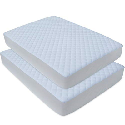 2 Pack Waterproof Quilted Play Mattress Cover Baby Portable Mini Cribs White