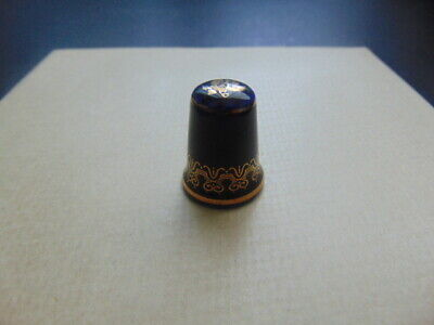 Blue With Gold Pattern Thimble