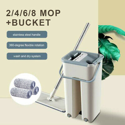 Floor Cleaning Microfiber Rag Hand Free Flat Squeeze Mop Bucket Cleaner Supply