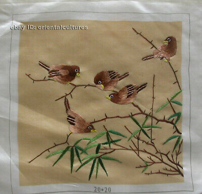 """Chinese 100% hand embroidered silk suzhou embroidery art:birds 8"""""""