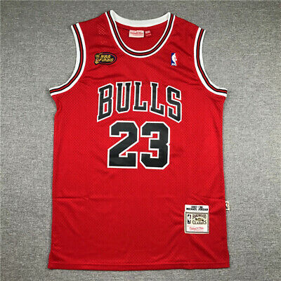 1998 Finals Michael Jordan Stitch RED Jersey Embroidery