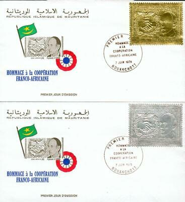Mauritania Michel Nr. 601-602 on gold + silver FDC fp52