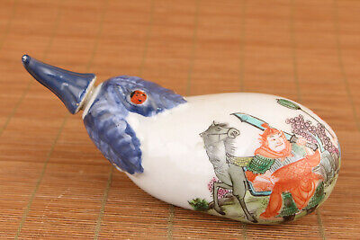 Rare chinese old blue porcelain tangdy nasty war snuff bottle noble decoration