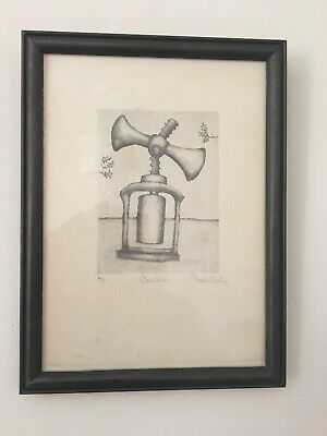 "Antique Cork Screw Artist Proof Print ""Corkscrew"" by Bevis SALE small framed"