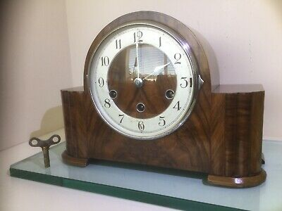 Art Deo Style Haller Westminster Chiming Mantel Clock Fully Serviced With Key