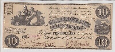 $10 Confederate Currency 1861