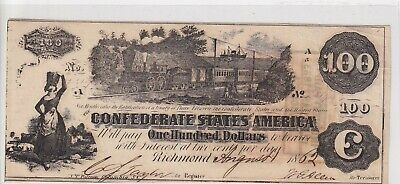 $100 Confederate Currency 1862 Train Straight Steam High Grade 3 Stamps