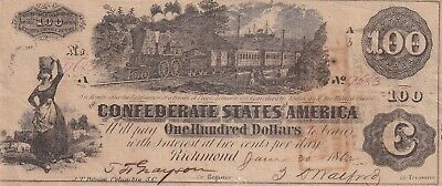$100 Confederate Currency 1862 Train Straight Steam High Grade 2 Stamps