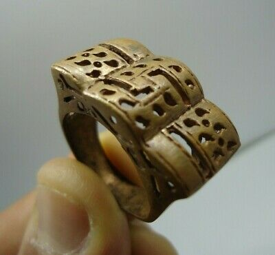 Ancient Medieval Roman Bronze Ring Legionary Extremely Rare Authentic Jewelry