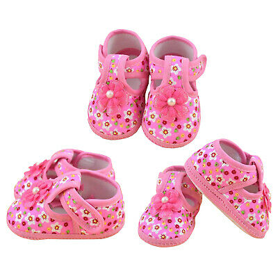 1X(1 pair Soft Baby Chaussure Infant Girls Flower Printed Cloth Boots Crib W1A7