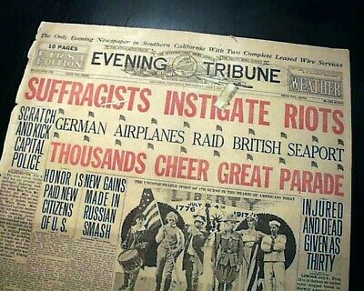 WOMEN'S SUFFRAGE Female Woman Demonstration Picketing DC Rioting 1917 Newspaper