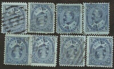 Stamps Canada # 91, 5¢, 1903, lot of 8 used stamps.