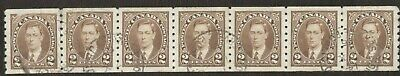 Canada Stamps # 239, 2¢, 1937, 1 strip of 7, used stamps.