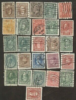 Canada Stamps, lot of 25, used stamps.