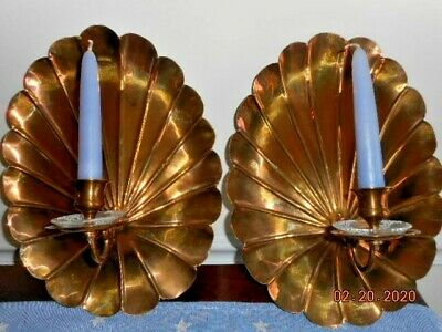 Vintage Pair Solid Brass Wall Sconces Candleholders Enesco Imports Made in India
