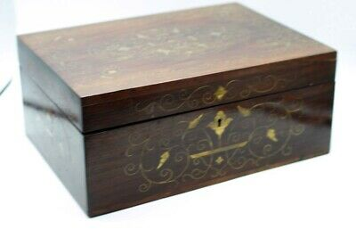 Rare Victorian Wood & Brass Inlay Velvet Trays Interior Jewelry Box