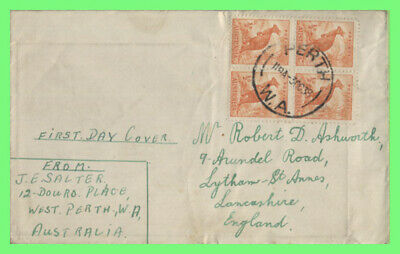 Australia 1938 KGV ½d Roo block on First Day Cover