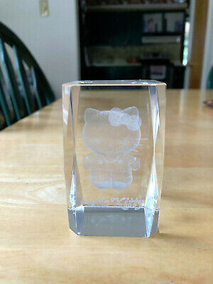 hello kitty glass crystal paperweight laser etched 3 inch