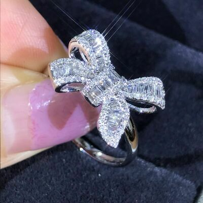 Decent White Cz Inlaid Bowknot Silver Finger Ring  Engagement Jewelry Size 7