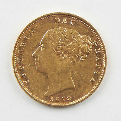1878 Great Britain Victoria Young Head GOLD Half Sovereign Fine Cleaned A9433