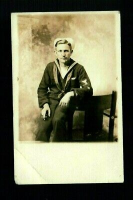RPPC US NAVY SAILOR UNIFORM SMOKING CIGARETTE Vintage Photo Postcard Eagle Patch