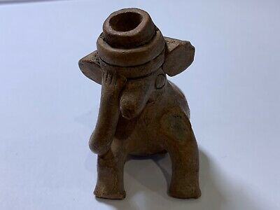 "Antique pre Columbian pottery figural whistle 2.25"" seated creature"
