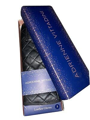 Adrienne Vittadini Black Quilted Leather Lined Gloves Size S