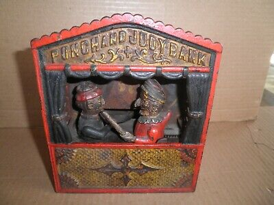Old original cast iron Punch & Judy mechanical penny bank patent 1884