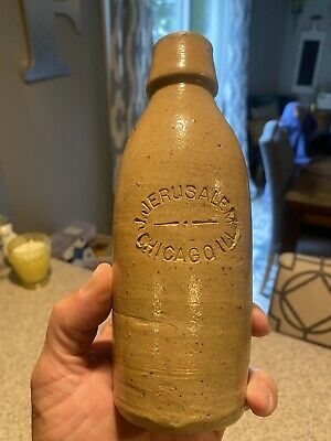 1880s J. Jerusalem Chicago Illinois Ginger Stoneware Beer Museum Quality Example