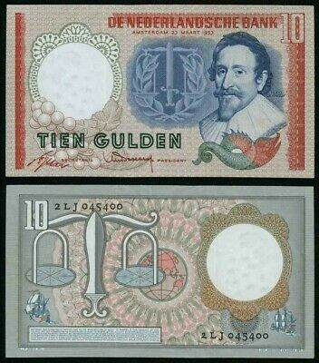 1953 Netherlands 10 Gulden Banknote Pick# 85 Hugo de Groot Crisp Uncirculated