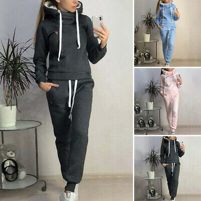 Womens Warm Tracksuits Hooded Sport Fleece Lounge Wear Ladies Tops Suit 2PCS Set